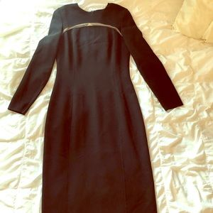 Formal black below the knee long sleeve dress
